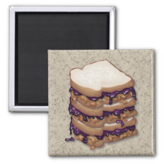 Peanut Butter and Jelly Sandwiches Fridge Magnets