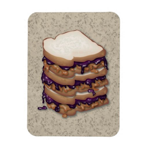 Peanut Butter and Jelly Sandwiches Rectangle Magnets