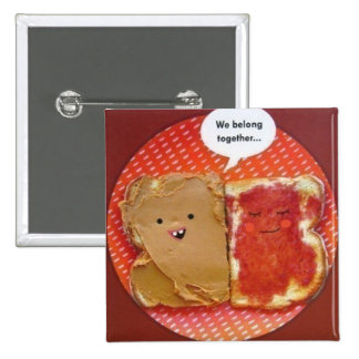 peanut butter jelly best friends 15 cm square badge