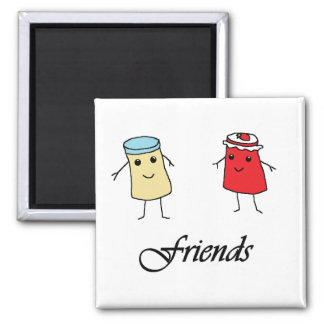 Peanut butter & Jelly Friends Square Magnet