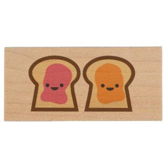 Peanut Butter & Jelly Toast Friends Wood USB Drive Wood USB 2.0 Flash Drive