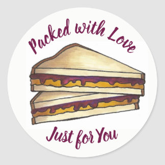 Peanut Butter Sandwich Packed with Love Lunch PBJ Classic Round Sticker