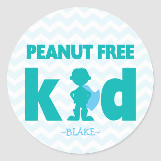 Peanut Free Kid Superhero Boy Allergy Stickers