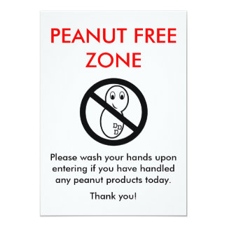 Peanut Free Zone Card