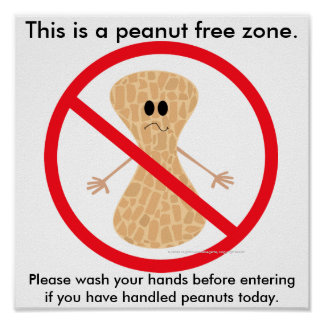 Peanut Free Zone Food Allergy Print
