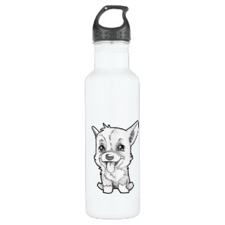 Peanut the corgi to water bottle
