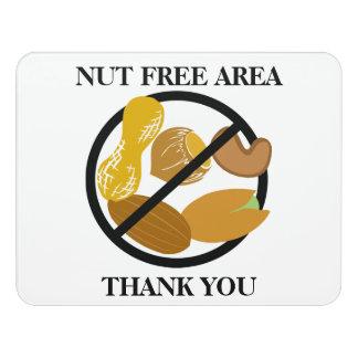 Peanut & Tree Nut Free Area Nut Free School Door Sign