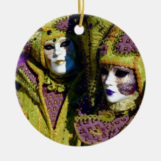 Pear and Antique Fuchsia Carnival Costumes Ceramic Ornament