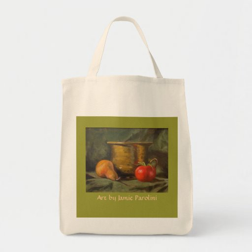 Pear and tomato tote bags