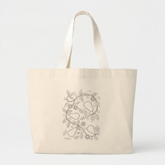 Pear Branch Line Art Design Large Tote Bag