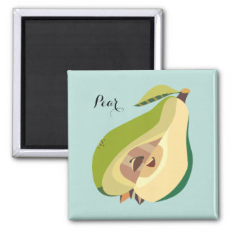 Pear fruit illustration personalize magnet