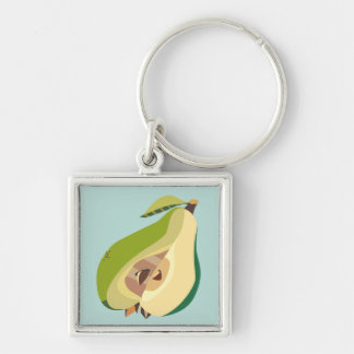 Pear fruit illustration Silver-Colored square key ring