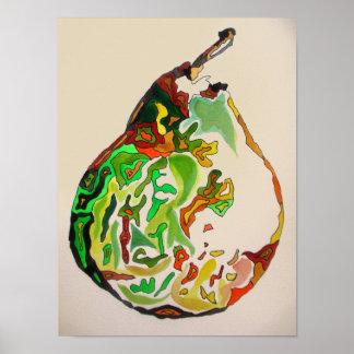 Pear fruit watercolour art illustration poster