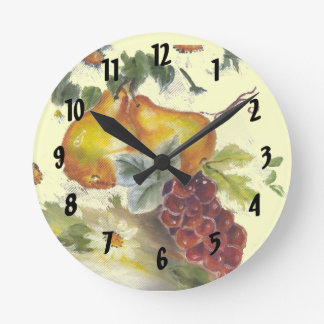 pear & grapes round clock