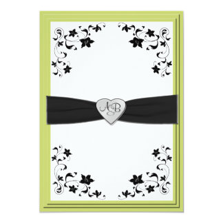 Pear Green and Black Monogrammed Invitation