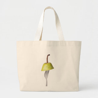 Pear held by a fork canvas bag