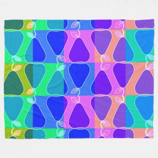 Pear pattern in blue fleece blanket