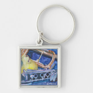 Pear Roadie Silver-Colored Square Key Ring