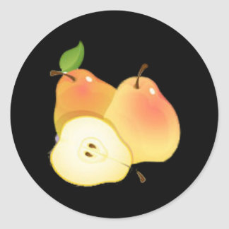 Pear Round Stickers