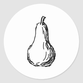 Pear Sketch. Line illustration in Black. Round Sticker