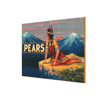 Pear Stock Crate Label Canvas Prints