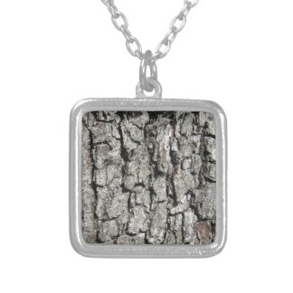 Pear tree bark texture background silver plated necklace