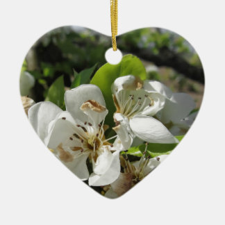 Pear tree branches with blossoms ceramic heart decoration