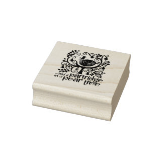 Pear Tree Christmas Rubber Stamp