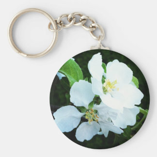 Pear tree flower basic round button key ring