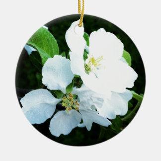 Pear tree flower round ceramic decoration