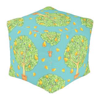 """Pear Tree Grade A Woven Cotton Pouf 18""""x18""""x18"""" Cube Pouffe"""
