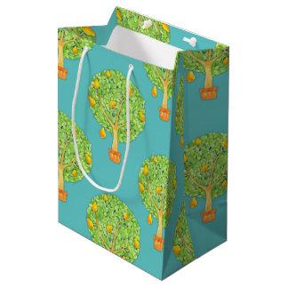 Pear Tree Pattern teal Medium Gift Bag Matte