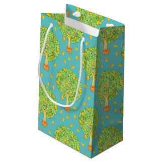 Pear Tree Pears Pattern teal Small Gift Bag Matte