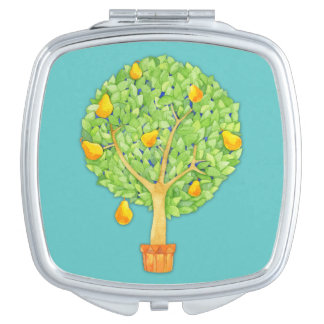 Pear Tree teal Square Compact Mirror