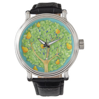 Pear Tree teal Vintage Leather Strap Wrist Watch