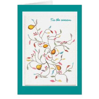 Pear tree tis the season greeting card