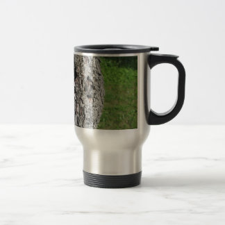 Pear tree trunk against green background travel mug