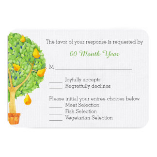 Pear Tree Wedding RSVP Card