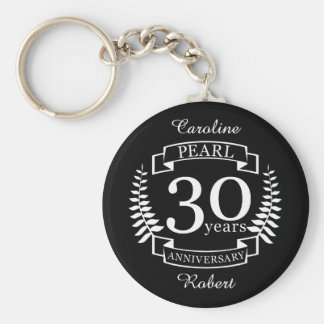 Pearl 30th wedding anniversary 30 years key ring