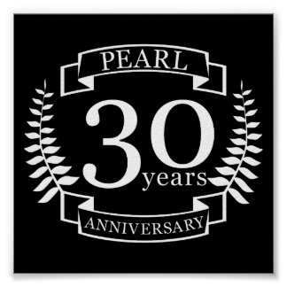 Pearl 30th wedding anniversary 30 years poster