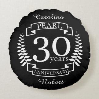 Pearl 30th wedding anniversary 30 years round cushion
