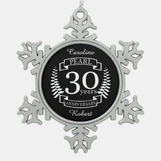 Pearl 30th wedding anniversary 30 years snowflake pewter christmas ornament