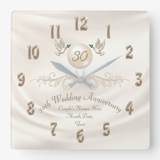 Gifts For A Pearl Wedding Anniversary: Pearl 30th Wedding Anniversary Gifts, Your Text Square