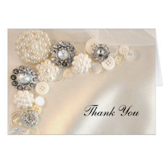 Pearl and Diamond Button Bridesmaid Thank You Note Card