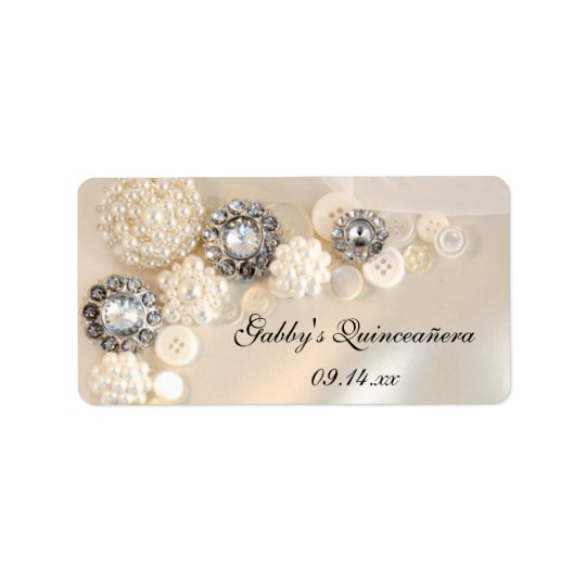 Pearl and Diamond Buttons Quinceañera Favour Tags Address Label