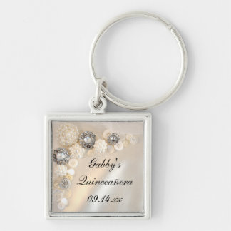 Pearl and Diamond Buttons Quinceañera Keychain