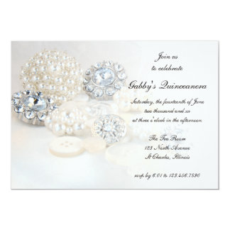 Pearl and Diamond Buttons Quinceañera Party Invite