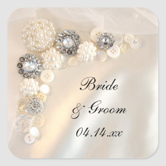 Pearl and Diamond Buttons Wedding Envelope Seals Stickers