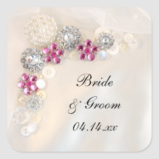 Pearl and Diamond Buttons Wedding Envelope Seals Square Sticker
