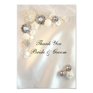 Pearl and Diamond Buttons Wedding Thank You Notes Invites